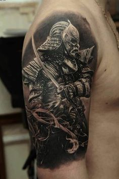 Realistic Spartan Tattoo On Right Half Sleeve