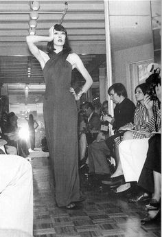 Anjelica Huston for Halston Fashion Show, photographed by Berry Berenson,  Fall/Winter, 1972