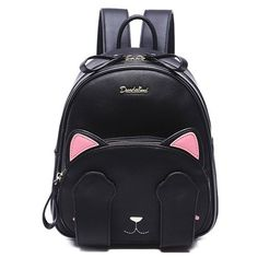 Cute Cat Pattern and Black Design Backpack For Women (€38) ❤ liked on Polyvore featuring bags, backpacks, knapsack bag, backpack bags, day pack backpack, cat bag and rucksack bag