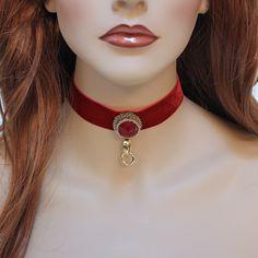 Romantic Victorian Red Velvet Fantasy Choker