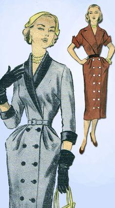 1950s Vintage 1951 Advance Sewing Pattern 5996 Gorgeous Misses Dress Size 12