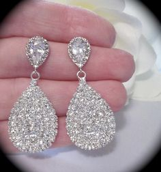 Bridal Jewelry Rhinestone Earrings Large by QueenMeJewelryLLC, $29.99