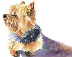 Yorkshire Terrier Art Print of Original Watercolor Painting - 11x14 Yorkie