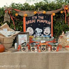 It's the Great Pumpkin! Charlie Brown {halloween party} Movie night outside with the grands!!