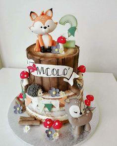 27 super Ideas for birthday cake fondant boy cupcake Bolo Nacked, Fox Cake, Woodland Cake, Woodland Forest, Woodland Party, Cake Decorating Designs, Cupcakes For Boys, Baby Shower Cakes For Boys, Cake Boss