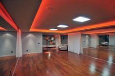 Dance studio, love the red lights