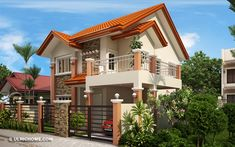 Modern house designs such as has 4 bedrooms, 2 baths and 1 garage stall. The floor plan features of this modern house design are, covered front porch, balcony over garage, walk-in clo… Two Story House Design, 2 Storey House Design, Small House Design, Modern House Design, Best House Plans, Modern House Plans, Modern Houses, Small Houses, Philippines House Design