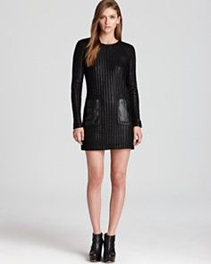 10 Crosby Derek Lam Long Sleeve Dress with Faux Leather Trim