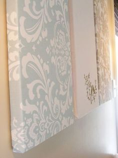 Really big DIY wall art using styrofoam and fabric. Also on the page is a tutorial to make your own painting using styrofoam, canvas drop cloth and random paint. Love the idea after we've painted a few rooms, to use the different colors to create a gigantic painting that ties the rooms together.