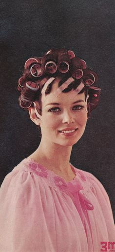 Its so nice they way her pink rollers (and hair set tape) match her nightgown. What a wonderful example of how neat a set can be and how pretty a lady can be in curlers. Sleep In Hair Rollers, Hair Tape, Hair Setting, Roller Set, Cut My Hair, Curlers, Beauty Shop, Hair Today, Vintage Hairstyles