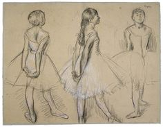 Degas ballerina sketch- I just wonder what these three young ballerinas are thinking about.  I love the bits of white charcoal to make the drawing 'pop'.