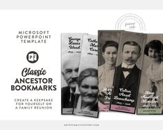 Classic Ancestor Bookmark template for Microsoft Powerpoint.   Etsy Bookmark Template, Microsoft Powerpoint, Microsoft Word, Custom Fonts, Print And Cut, Family History, Genealogy, Bookmarks