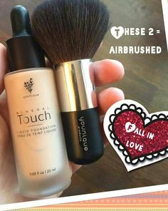 The Younique Liquid Touch Foundation goes on as a liquid and dries to a powder. I get the best results by dropping a few drops on to a large powder brush and buffing into the skin. A smaller blusher brush also works well as it helps you get into all areas
