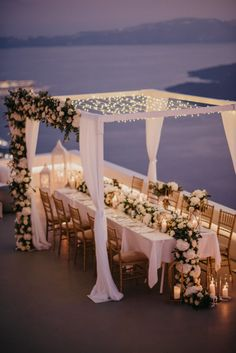 It's no wonder why Sarah & Justin chose to fly from Australia to have an intimate wedding in Santorini & we are glued to our screens with every luxe detail Intimate Wedding Reception, Wedding Set Up, Intimate Weddings, Reception Ideas, Wedding Summer, Wedding Ideas, Greek Wedding Theme, Wedding Ceremony, Wedding White