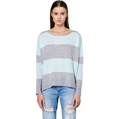 360 Sweater Skylar Sweater ($310) ❤ liked on Polyvore featuring tops, sweaters, colorblock top, striped top, stripe top, long sleeve sweaters and color block top