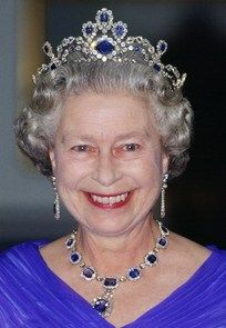 The sapphire tiara was made with a sapphire collar of Louise of Belgium, Princess of Saxe-Coburg-Gotha bought by the QUEEN in 1963.