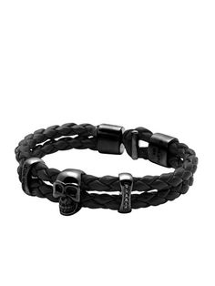 Men's Black Leather With Skull And Chakra Beads