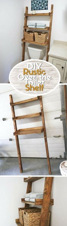 Check out this easy idea on how to build a #DIY leaning over the toilet shelf for a small #bathroom #rustic #project #budget @istandarddesign