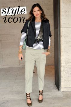 Jenna Lyons in stripes. Chic Outfits, Fashion Outfits, Jenna Lyons, Casual Chique, Jessica Parker, Mode Simple, J Crew Style, Looks Chic, Love Her Style