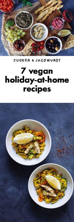 7 vegan recipes for holidays at home! Vegan paella, vegan gyros, vegan antipasti, vegan creme brulee, vegan plantain chips, vegan bagel.
