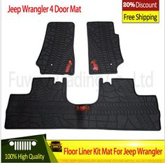 Free Shipping Hot Sale Black With Logo Rubber TPE Material Floor Liner Kit Mat  For Jeep. Jeep Wrangler UnlimitedBlack ...