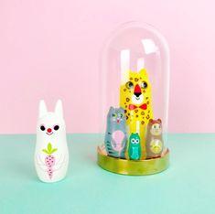 Animal Nesting Dolls - Design 3 - Ingela P Arrhenius #ingelaparrhenius #nestingdolls #retro #retrotoy #nostalgic #nostalgia #retrotoys #colour #cute #love