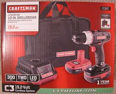 Powerful 19.2 Volt Drill / Driver with 1/2 Inch Key-less Chuck and Two Lithium-ion Batterys, Great for Both the Professional Contractor and Home Handy Man - Even Includes a Tough Carry Bag. Compact size fits into the tightest work conditions. Dual gearbox delivers 0-440 rpm on the high torque setting and 0-1,600 rpm on high speed setting. Kicking out 340 inch pounds of torque, this driver tears through steel, aluminum, wood and plastic. Batteries deliver 20% more run time, 3fold charge…