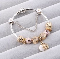 Couqcy 2017 New Cute 925 Silver Charm Bracelet With Flower Pendant Charm Gold Murano Glass Beads Friendship Bracelet DIY Jewelry Metal Bracelets, Bracelets For Men, Metal Jewelry, Fashion Bracelets, Bangle Bracelets, Bangles, Ring Bracelet, Silver Jewelry, Bohemia Jewelry
