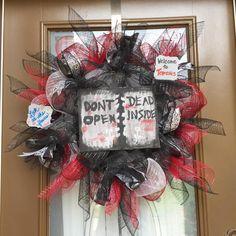 Walking Dead inspired deco mesh wreath.