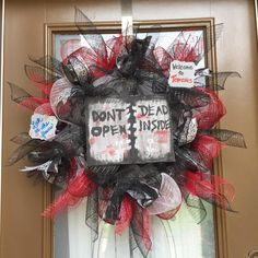 Walking Dead inspired deco mesh wreath.
