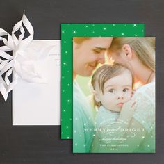 Merry Ombre Joy Holiday Photo Cards by Sarah Brown   Elli