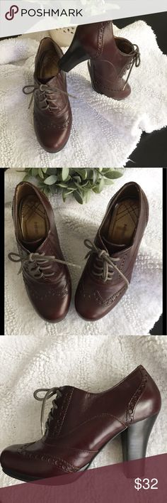 High heel oxford lace up wingtip shoes boho 5 These are so cute! Genuine leather, made by Nine West. The leather looks brown for the most part, but under certain lighting they kind of take on a bit of a burgundy color. Size 5, only been worn a handful of times. These are a different spin on a ankle bootie. Boho, bohemian, steam punk, gypsy, vintage style. Offers are always welcome and thanks for looking.  Nine West Shoes