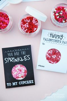 Darling FREE printable Valentine's Day Cards using real cupcake sprinkles! #free #download #valentine #cupcake #sprinkles #kids