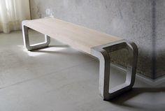 скамейка из бетона, мебель из бетона