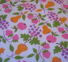 Vintage Fabric 1960's Mod Tiny Fruit Pink Orange by misskittys5n10