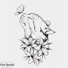 Cool Art Drawings, Art Drawings Sketches, Tattoo Sketches, Animal Drawings, Tattoo Drawings, Bild Tattoos, Cute Tattoos, Body Art Tattoos, Small Tattoos