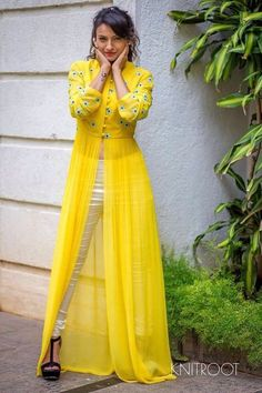 Buy Thankar Yellow Georgette Semi Stitched Suit online in India at best price. Indian Gowns Dresses, Indian Fashion Dresses, Indian Designer Outfits, Fashion Outfits, Designer Party Wear Dresses, Kurti Designs Party Wear, Designer Wear, Pakistan, Long Dress Design