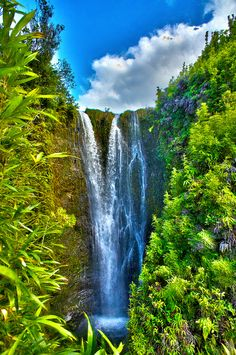 Secret waterfall in Papaaea Ahupua`a, Haiku, Maui, Hawaii