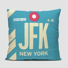 Throw pillow inspired on vintage luggage tags with airport codes on it. The cushions are soft and comfortable and come in 4 sizes to suit any couch or bed. Perfect for travel lovers, frequent flyers a