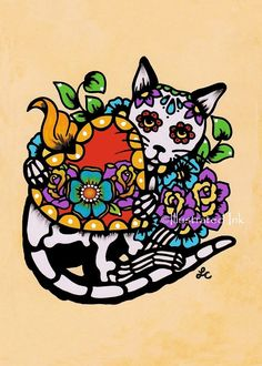 Day of the Dead CAT Tattoo Sacred Heart Dia de los Muertos Art Print 5 x 7, 8 x 10 or 11 x 14 - Donation to Shelter by illustratedink on Etsy https://www.etsy.com/listing/177349905/day-of-the-dead-cat-tattoo-sacred-heart