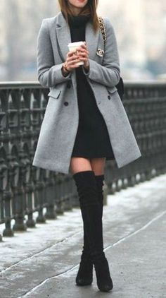 Classy Elegant Going Out Thigh High Boots Outfit Ideas for Women Fall or Winter - Elegantes ideas para ropa de otoño o invierno para mujeres - www. ideas fall classy Trending Women's Thigh High Boots Outfit Ideas for Fall or Winter 2018 Winter Outfits For Teen Girls, Winter Fashion Outfits, Fall Winter Outfits, Look Fashion, Autumn Fashion, Summer Outfits, Winter Clothes Women, Christmas Outfits, Classy Fashion