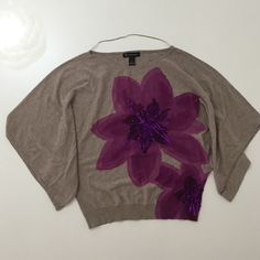 """Floral Lightweight Sweater with Batwings Sleeves Super cute top! I'm not sure the color, may be a mauve? The sweater is lightweight and has cute batwing 3/4 sleeves. Rubbed hem. I could have worn it once, not sure. The condition is very excellent! Cotton and rayon construction. Machine washable. Approximate measurement-- bust: 16.5"""", length: 21"""" INC International Concepts Sweaters Crew & Scoop Necks"""