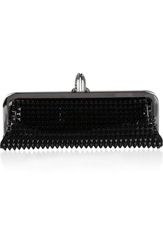 If you're wearing a strong color, choose a neutral or black bag with a bit of beading. Christian Louboutin|Miss Loubi spiked patent-leather clutch