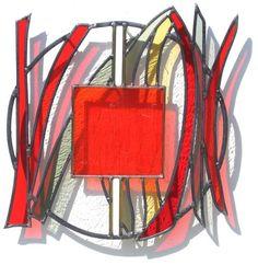 vitrail RED RHYME II by Leo Amery