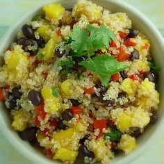 Quiona Salad with Mango, Black Beans, and Cilantro Lime Dressing