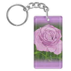 Purple Rose Key Chain - personalize custom customizable