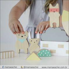 Inspiração: Bonecos de madeira, porque amamos brincar com o simples.    www.mamaeachei.com.br #mamaeachei #fofurices #brincar