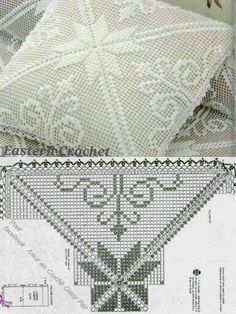 This pin was discovered by est Crochet Mandala, Crochet Motif, Crochet Doilies, Crochet Patterns, Free Crochet, Crochet Bedspread Pattern, Crochet Cushions, Fillet Crochet, Crochet Home Decor