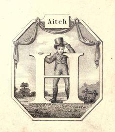 """""""Aitch"""" (H) ~ Vintage Children's ABC Flash Card"""