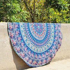 Elephant Round Mandala Tapestry Wall Hanging Beach Throw Hippie Yoga Mat Indian #Handmade #Traditional #BeachThrowYogaMatTableCoverWallHanging